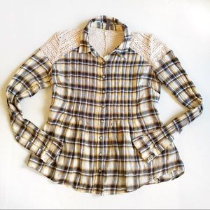 Free People plaid button down shirt with lace back